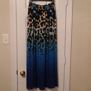 Leopard Ombre Maxi Skirt